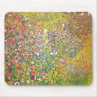 Gustav Klimt Pink Flowers Mouse Pad