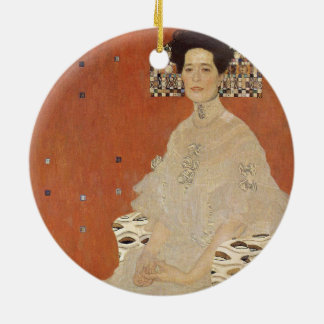 GUSTAV KLIMT - Portrait of Fritza Riedler 1906 Round Ceramic Ornament