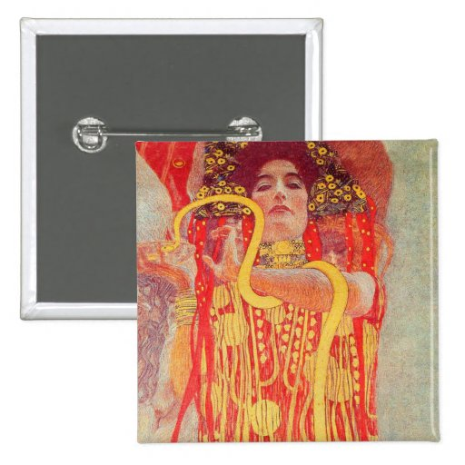 Gustav Klimt Red Woman Gold Snake Painting Pinback Buttons