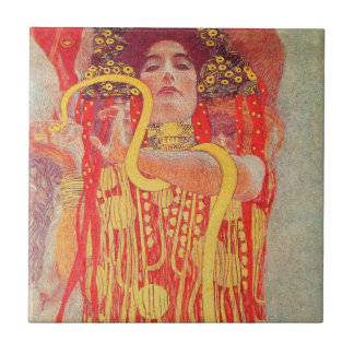 Gustav Klimt Red Woman Gold Snake Painting Tile