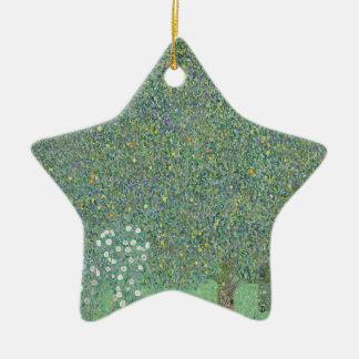 Gustav Klimt - Rosebushes under the Trees Artwork Ceramic Ornament