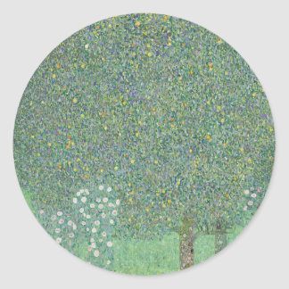 Gustav Klimt - Rosebushes under the Trees Artwork Classic Round Sticker