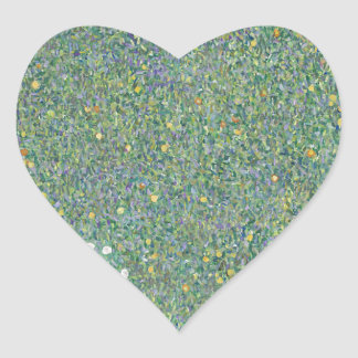 Gustav Klimt - Rosebushes under the Trees Artwork Heart Sticker