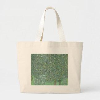 Gustav Klimt - Rosebushes under the Trees Artwork Large Tote Bag