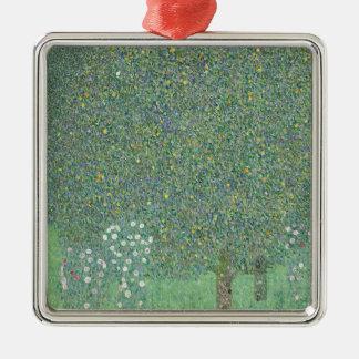 Gustav Klimt - Rosebushes under the Trees Artwork Metal Ornament
