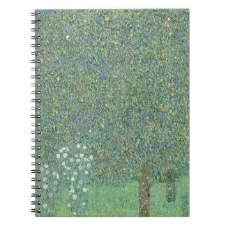 Gustav Klimt - Rosebushes under the Trees Artwork Spiral Notebook