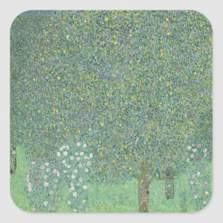 Gustav Klimt - Rosebushes under the Trees Artwork Square Sticker