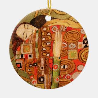 Gustav Klimt Round Ceramic Ornament