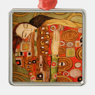 Gustav Klimt Silver-Colored Square Ornament
