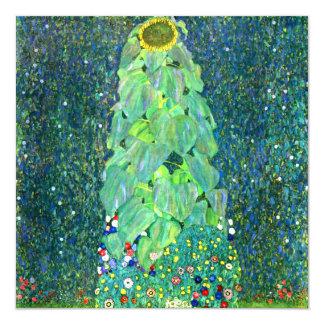 "Gustav Klimt: Sunflower 5.25"" Square Invitation Card"