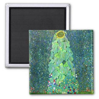Gustav Klimt: Sunflower Square Magnet
