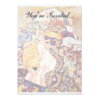 "Gustav Klimt - The Baby Cradle - Newborn 5"" X 7"" Invitation Card"