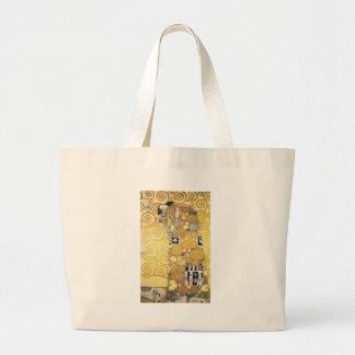 Gustav Klimt - The Hug - Classic Artwork Large Tote Bag