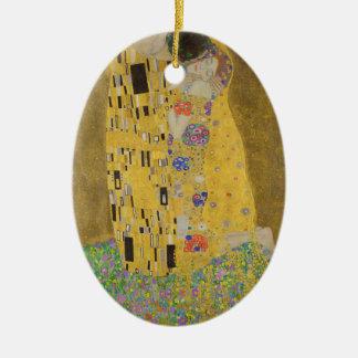 "Gustav Klimt ""The Kiss"" Ceramic Oval Ornament"