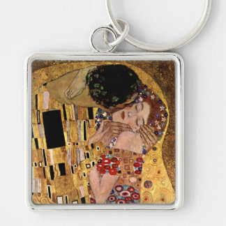 Gustav Klimt: The Kiss (Detail) Silver-Colored Square Keychain
