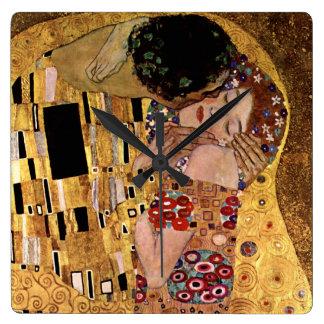 Gustav Klimt: The Kiss (Detail) Square Wall Clock