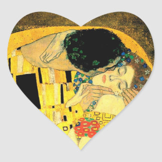 Gustav Klimt -The Kiss Heart  Stiker Heart Sticker