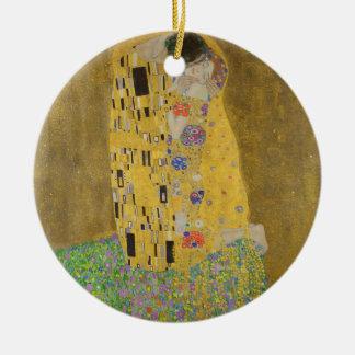 """Gustav Klimt """"The Kiss"""" Round Ceramic Ornament"""