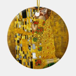 Gustav Klimt The Kiss Round Ceramic Ornament