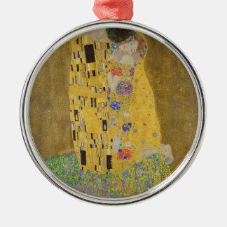 "Gustav Klimt ""The Kiss"" Silver-Colored Round Ornament"