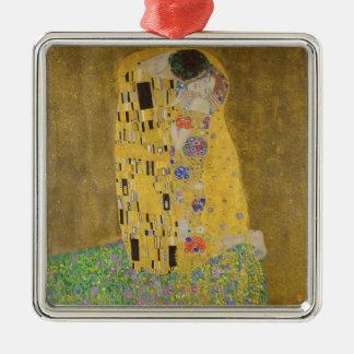 "Gustav Klimt ""The Kiss"" Silver-Colored Square Ornament"