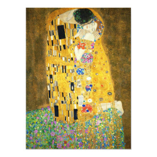"Gustav Klimt The Kiss Vintage Art Nouveau Painting 6.5"" X 8.75"" Invitation Card"