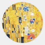 Gustav Klimt The Kiss Vintage Art Nouveau Painting Round Sticker