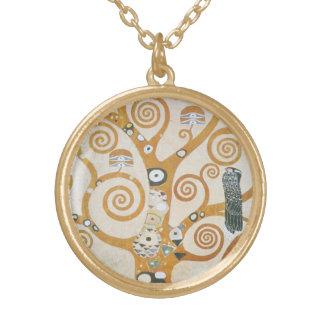 Gustav Klimt The Tree Of Life Art Nouveau Gold Plated Necklace