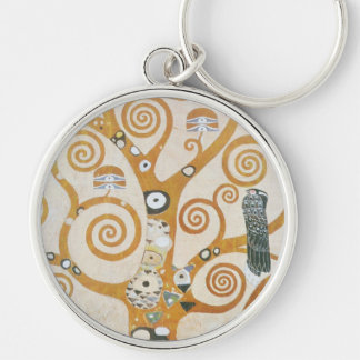 Gustav Klimt The Tree Of Life Art Nouveau Silver-Colored Round Keychain