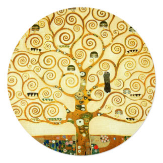 "Gustav Klimt The Tree Of Life Vintage Art Nouveau 5.25"" Square Invitation Card"