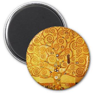 Gustav Klimt Tree of Life Art Nouveau 2 Inch Round Magnet