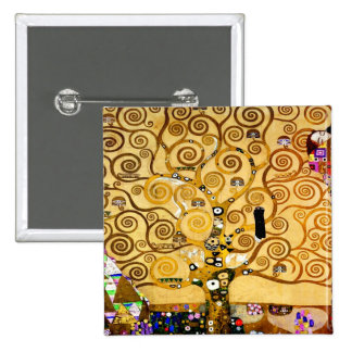 Gustav Klimt Tree of Life Art Nouveau 2 Inch Square Button