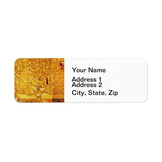 Gustav Klimt Tree of Life Art Nouveau Return Address Label