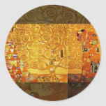 Gustav Klimt Tree of Life Art Nouveau Round Stickers