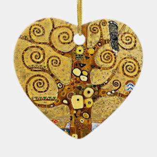 """Gustav Klimt, """"Tree of life"""" Ceramic Heart Ornament"""