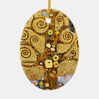 "Gustav Klimt, ""Tree of life"" Ceramic Oval Ornament"