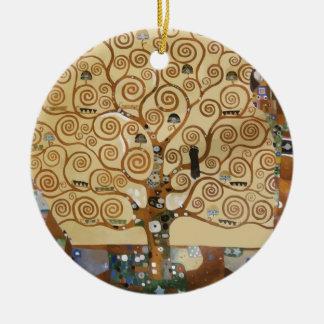 Gustav Klimt Tree Of Life Round Ceramic Ornament