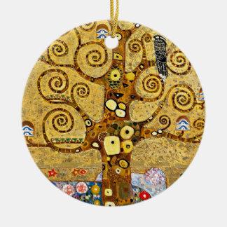 """Gustav Klimt, """"Tree of life"""" Round Ceramic Ornament"""
