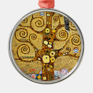 "Gustav Klimt, ""Tree of life"" Silver-Colored Round Ornament"