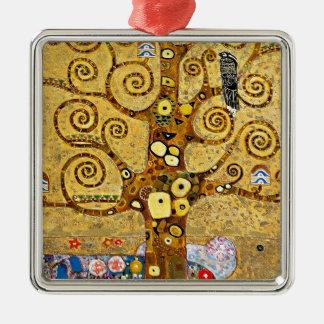 "Gustav Klimt, ""Tree of life"" Silver-Colored Square Ornament"