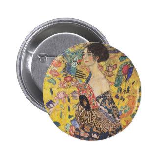 Gustav Klimt - Woman with fan Pinback Button