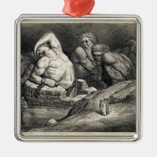 Gustave  Doré's The Titans Silver-Colored Square Ornament