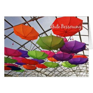 Gute Besserung German Get Well Colorful Umbrellas Card
