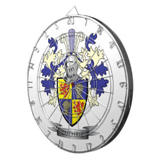Guthrie Family Crest Coat of Arms Dartboard