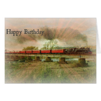 Guy Birthday Card Rays on Red Steam Train Trestle