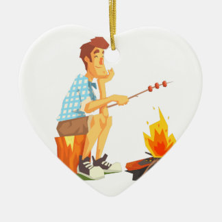 Guy Frying Meat On Camp Bonfire. Cool Colorful Ceramic Ornament