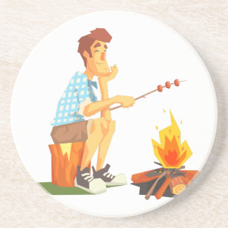 Guy Frying Meat On Camp Bonfire. Cool Colorful Coaster