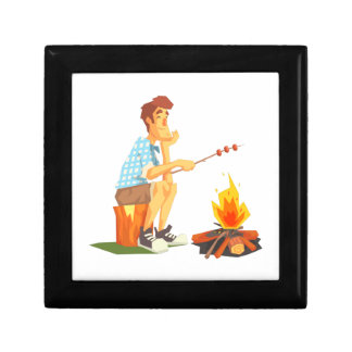 Guy Frying Meat On Camp Bonfire. Cool Colorful Gift Box