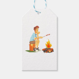 Guy Frying Meat On Camp Bonfire. Cool Colorful Gift Tags
