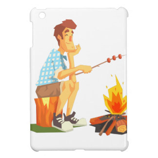 Guy Frying Meat On Camp Bonfire. Cool Colorful iPad Mini Cover